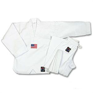 8oz. Medium Weight Tae Kwon Do Uniform -- White V-Neck